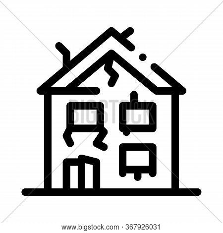 Collapse Of Old House Icon Vector. Collapse Of Old House Sign. Isolated Contour Symbol Illustration