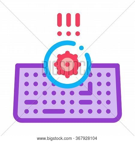 Bacteria On Computer Keyboard Icon Vector. Bacteria On Computer Keyboard Sign. Color Symbol Illustra