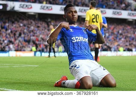 Glasgow, Scotland - July 18, 2019: Alfredo Morelos Of Rangers Celebrates After He Scored A Goal Duri