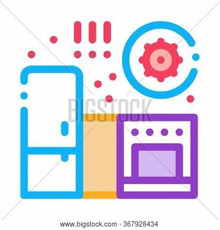Harmful Bacteria In Kitchen Icon Vector. Harmful Bacteria In Kitchen Sign. Color Symbol Illustration
