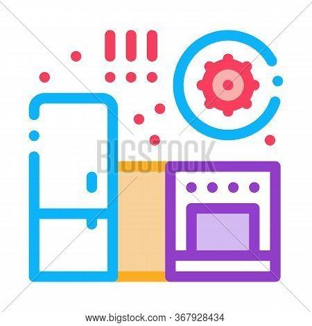 Harmful Bacteria In Kitchen Icon Vector. Harmful Bacteria In Kitchen Sign. Color Symbol Illustration