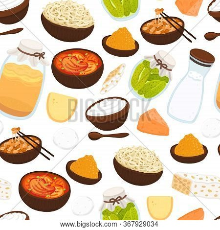 Vector Seamless Pattern With Probiotic Foods. Best Sources Of Probiotics. Beneficial Bacteria Improv