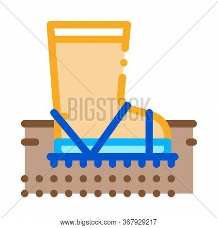 Aeration Ground With Boot Icon Vector. Trample Ground With Boot Sign. Color Symbol Illustration