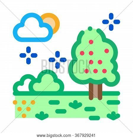 Territory Of Well-groomed Forest Icon Vector. Territory Of Well-groomed Forest Sign. Color Symbol Il