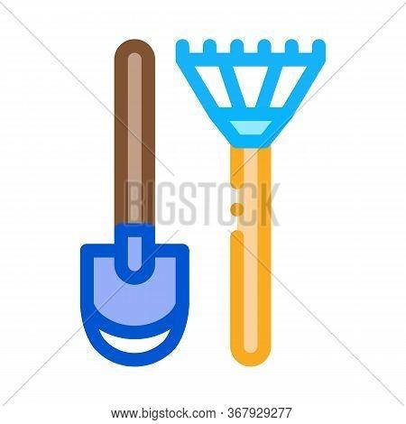 Shovel And Rake Icon Vector. Shovel And Rake Sign. Color Symbol Illustration