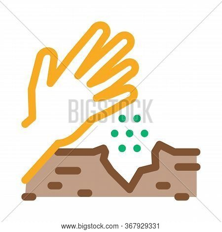Sowing Seeds In Ground Icon Vector. Sowing Seeds In Ground Sign. Color Symbol Illustration
