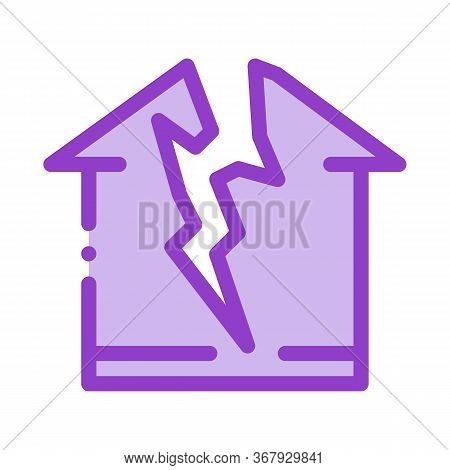 Lightning Destroyed House Icon Vector. Lightning Destroyed House Sign. Color Symbol Illustration