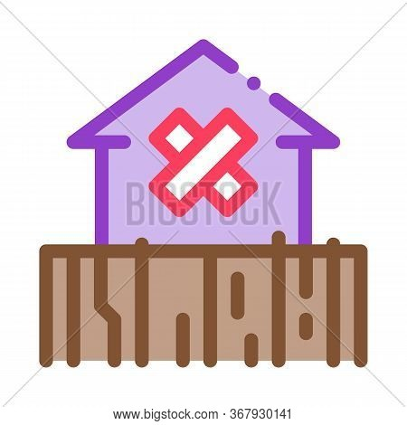 Enclosed Non-residential Building Icon Vector. Enclosed Non-residential Building Sign. Color Symbol