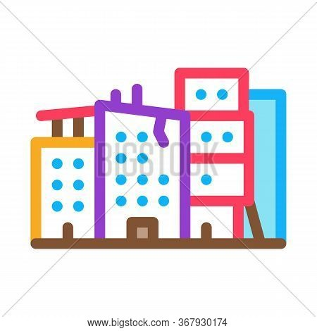 Destroyed High-rise Buildings Icon Vector. Destroyed High-rise Buildings Sign. Color Symbol Illustra