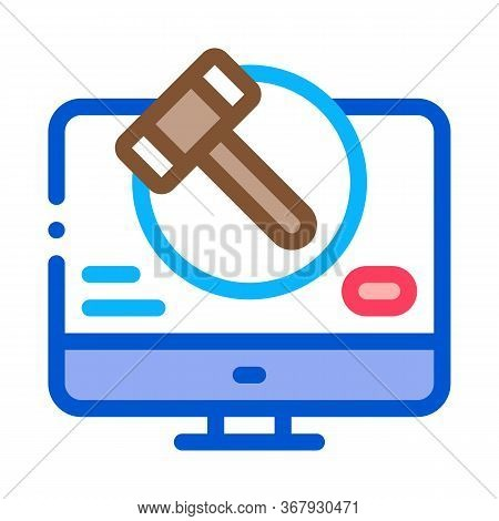 Computer Version Of Auction Icon Vector. Computer Version Of Auction Sign. Color Symbol Illustration