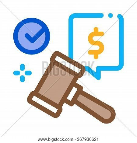 Auction Hammer Hit For Sale Approval Icon Vector. Auction Hammer Hit For Sale Approval Sign. Color S
