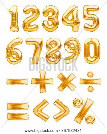 Set Of Golden Foil Numbers And Symbols Made From Balloons, Basic Mathematical Operations Isolated On