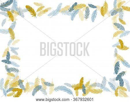 Exotic Silver Gold Feathers Vector Background. Detailed Majestic Feather On White Design. Lightweigt