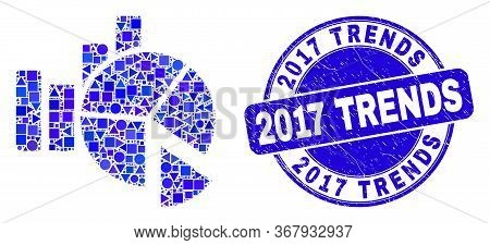 Geometric Statistics Charts Mosaic Pictogram And 2017 Trends Seal. Blue Vector Round Scratched Seal