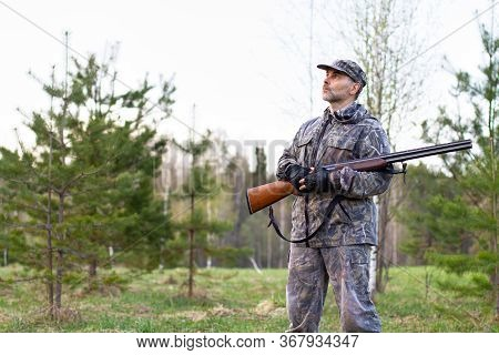 A Hunter With A Shotgun In His Hands Stands In A Forest Clearing In The Evening And Waits For The Ap