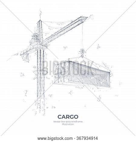 Description: Tower Crane Lifting A Cargo Container. Abstract Transportation Or Construction Concept