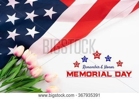 Us American Flag With Tulip Flower On White Background. For Usa Memorial Day,  Memorial Day. Top Vie