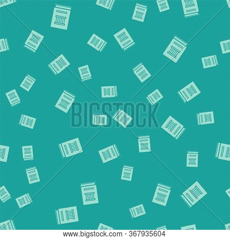 Green Law Book Icon Isolated Seamless Pattern On Green Background. Legal Judge Book. Judgment Concep