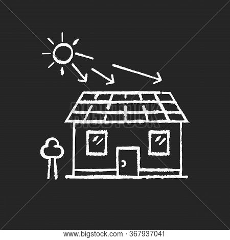 Solar Batteries Chalk White Icon On Black Background. Ecological Power Generation For Home. Alternat