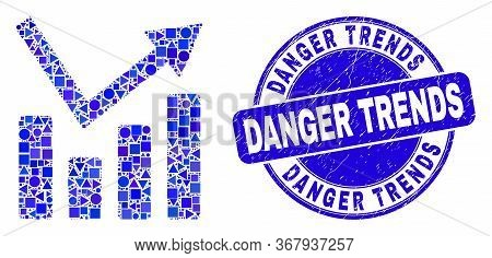 Geometric Trend Chart Mosaic Icon And Danger Trends Seal Stamp. Blue Vector Round Distress Seal Stam