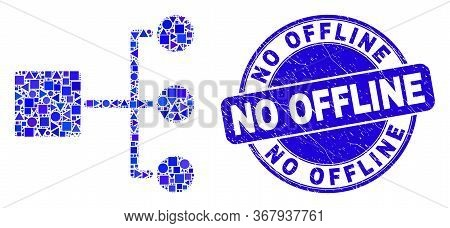 Geometric Hierarchy Mosaic Icon And No Offline Seal Stamp. Blue Vector Round Textured Seal Stamp Wit