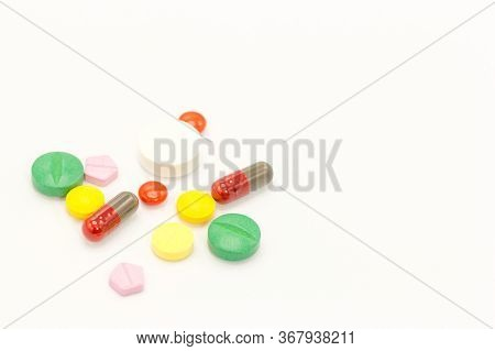 Close Up Various Medicines. On White Background