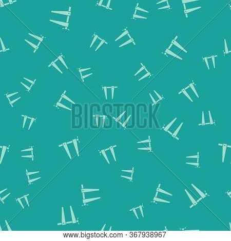 Green Clamp Tool Icon Isolated Seamless Pattern On Green Background. Locksmith Tool. Vector Illustra