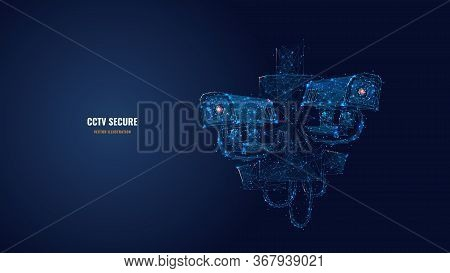 Abstract 3d Illustration Of Two Cctv Security Cameras. Surveillance Technology, Safety, Smart Home O