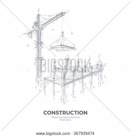 3d High Tower Crane Holding Slab. Isolated Construction Equipment In White Background. Vector Sketch
