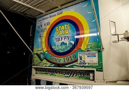 Falcon Heights, Minnesota - August 25, 2018: Sign For The State Fair Taffy Booth, Sold At The New Yo