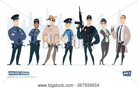 Police Officers Collection, Police Man And Police Woman Team. Cops And Officers Security In Uniform