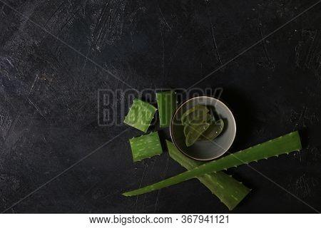 Fresh Aloe Vera Blower On Dark Background