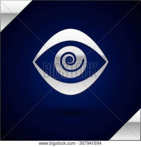 Silver Hypnosis Icon Isolated On Dark Blue Background. Human Eye With Spiral Hypnotic Iris. Vector I