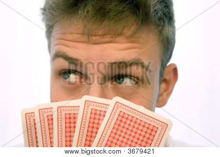 Young Man Playing Cards