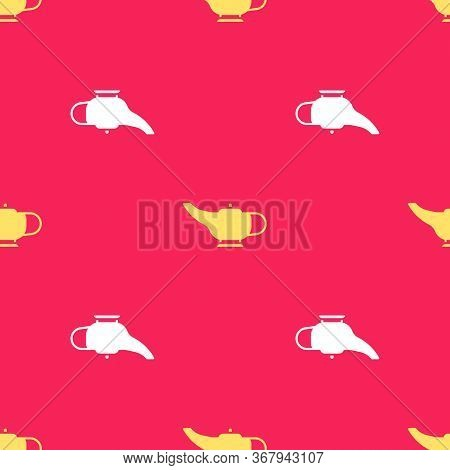 Yellow Magic Lamp Or Aladdin Lamp Icon Isolated Seamless Pattern On Red Background. Spiritual Lamp F