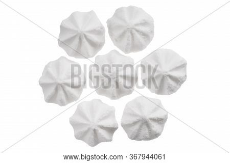 Set Of White Meringue Cookie Isolated On White. Sweet Crispy Twisted Cooked Meringue. Whipped Egg Cr