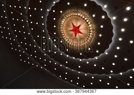 Beijing / China - March 13, 2014: Ceiling Of The Main Auditorium Of The Great Hall Of The People Dur
