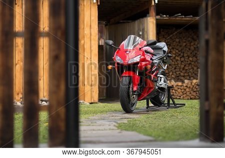 Krasnoyarsk, Russia - May 17, 2020: Red And Black Sportbike Honda Cbr 600 Rr 2005 Pc37