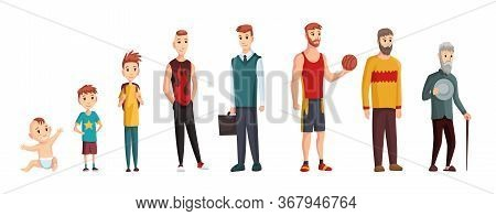 Male Different Age. Newborn Baby, Teenage Boy And Student Ages, Adult Man And Old Grandfather. Peopl