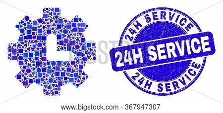 Geometric Clock Settings Mosaic Pictogram And 24h Service Seal Stamp. Blue Vector Round Distress Sea