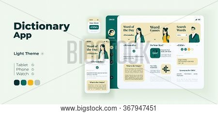 Fun Learning App Screen Vector Adaptive Design Template. Word Quizzes. Online Dictionary Application