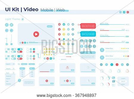 Video Player Ui Elements Kit. Volume Options. Multimedia Control Isolated Vector Icon, Bar And Dashb