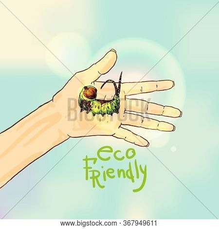 Caterpillar On Human Hand. Hand Drawn Vector Illustration Could Be Used For Textile,  Yoga Mat, Phon
