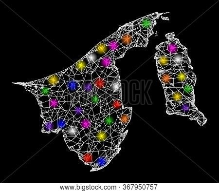 Web Mesh Vector Map Of Brunei With Glitter Effect On A Black Background. Abstract Lines, Light Spots