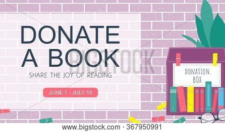 Template Background With Box For Donation Book On Brick Wall. Charity Concept Vector Banner. New Lif