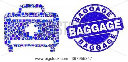 Geometric Medical Baggage Mosaic Pictogram And Baggage Seal Stamp. Blue Vector Rounded Grunge Seal S