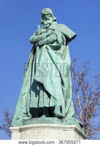 Budapest, Hungary - February 15, 2015 - Statue Of King Bela Iv In Heros Square, Budapest, Hungary