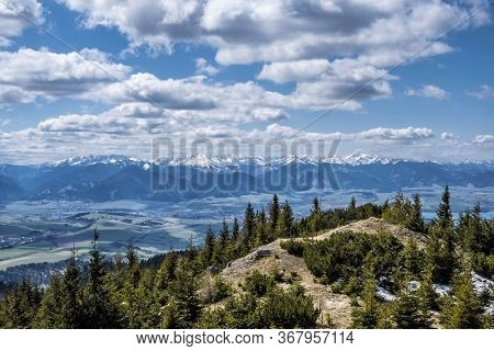Low Tatras And Liptov Basin From West Tatras Mountains, Slovak Republic. Hiking Theme. Seasonal Natu