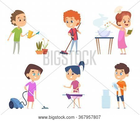 Kids Housework. Childrens Helping To Their Parents Cleaning Windows Showering Collect Toys Vector Ca