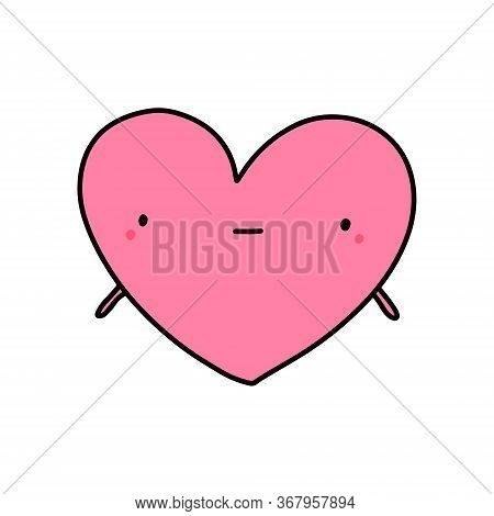 Silly Hand Drawn Vector Doodle Illustration Heart Symbol Expressive